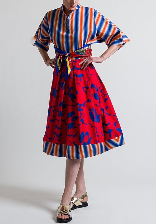 Marni Stripe & Floral Print Dress in Multicolor