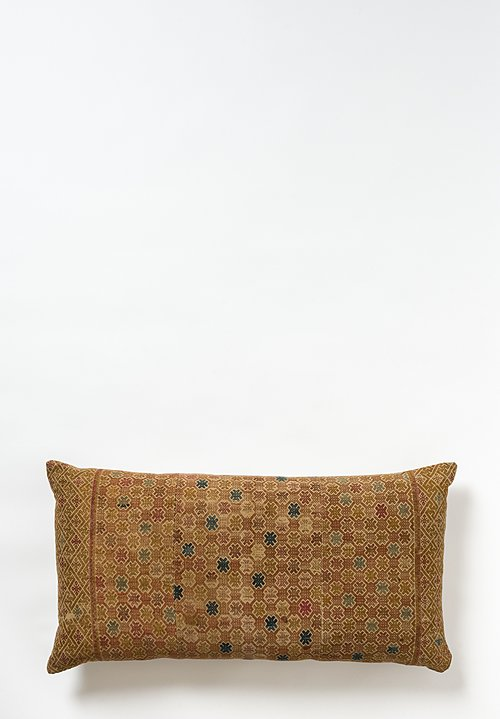 Chinese Embroidered Wedding Quilt Pillow in Faded Gold