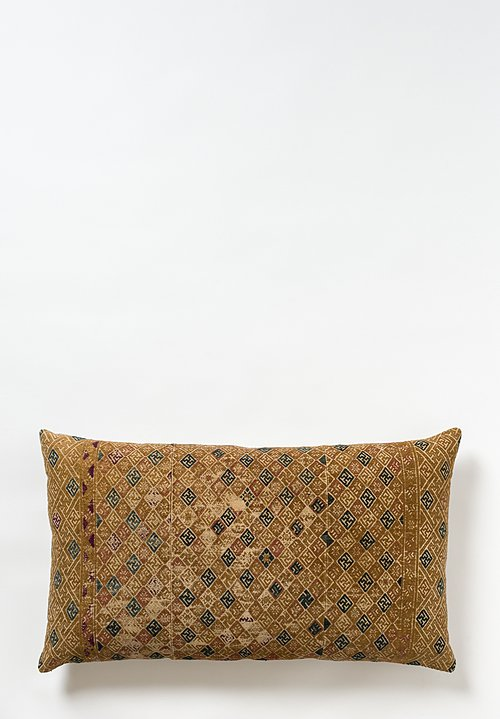 Chinese Embroidered Wedding Quilt Pillow in Gold / Navy