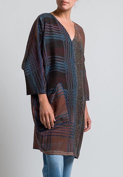 Mieko Mintz 2-Layer Indonesian Print Tunic in Mocha / Teal