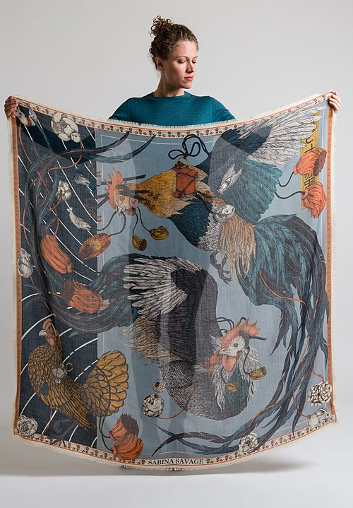 Sabina Savage Cashmere Rooster's Dance Scarf in Denim / Chambray