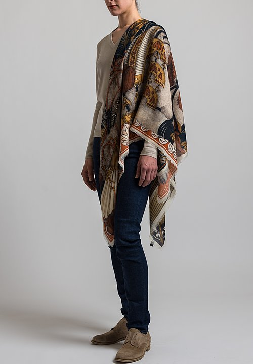Sabina Savage Cashmere Spoonbill and Jindo Scarf in Indigo / Chilli