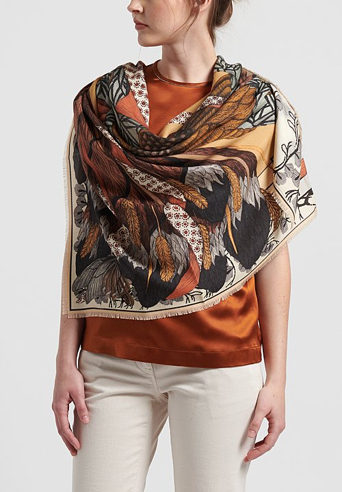 Sabina Savage Wool/Silk Cunning Kitsune Scarf in Gold/Ginger