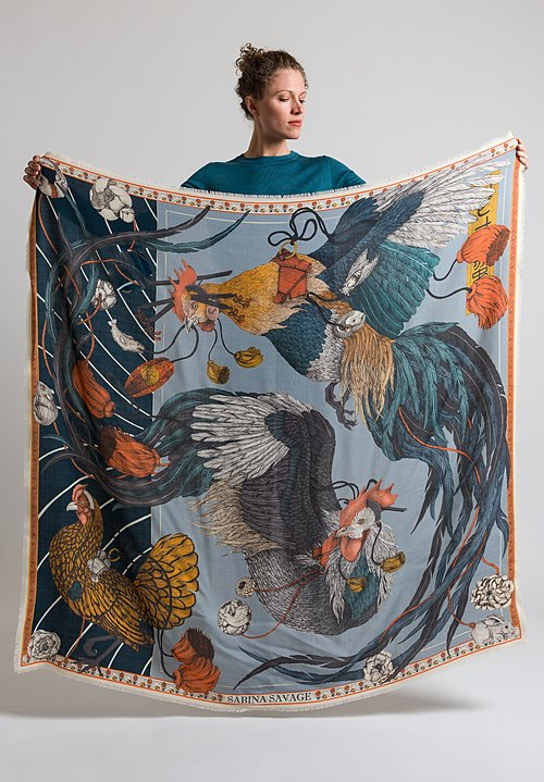 Sabina Savage Wool / Silk Rooster's Dance Scarf in Denim / Chambray
