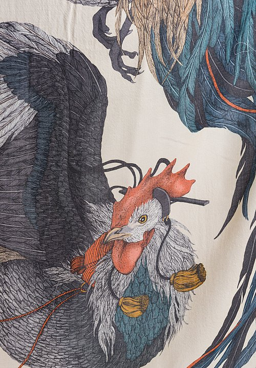 Sabina Savage Wool / Silk Rooster's Dance Scarf in Amber / Sand
