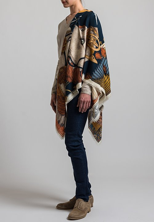 Sabina Savage Wool / Silk Spoonbill and Jindo Scarf in Indigo / Chilli