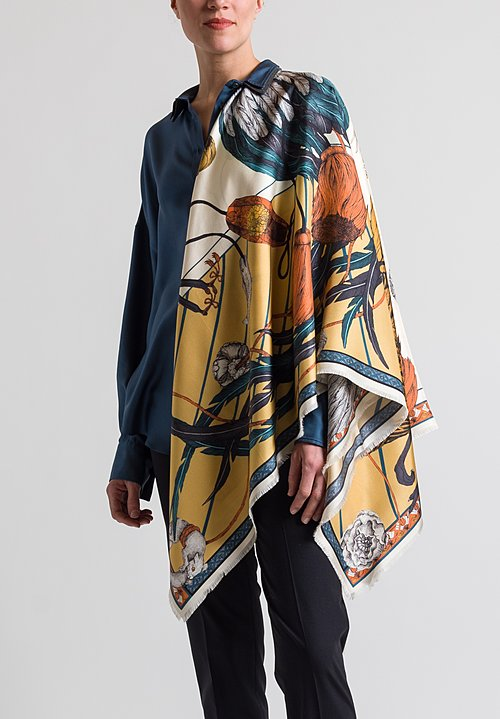 Sabina Savage Silk Twill Rooster's Dance Scarf in Amber / Sand