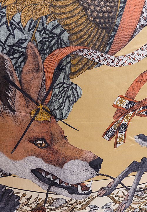 Sabina Savage Silk Twill Cunning Kitsune Scarf in Gold / Ginger