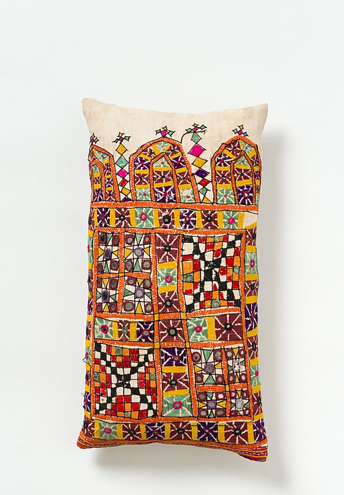 Small Indian Camel Sack Lumbar Pillow in Multicolor