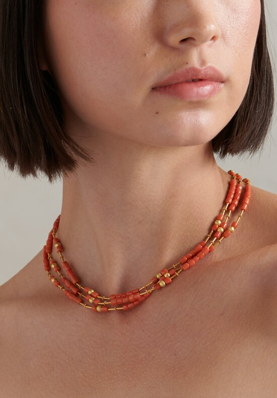 Greig Porter 18K, Coral Three Strand Necklace