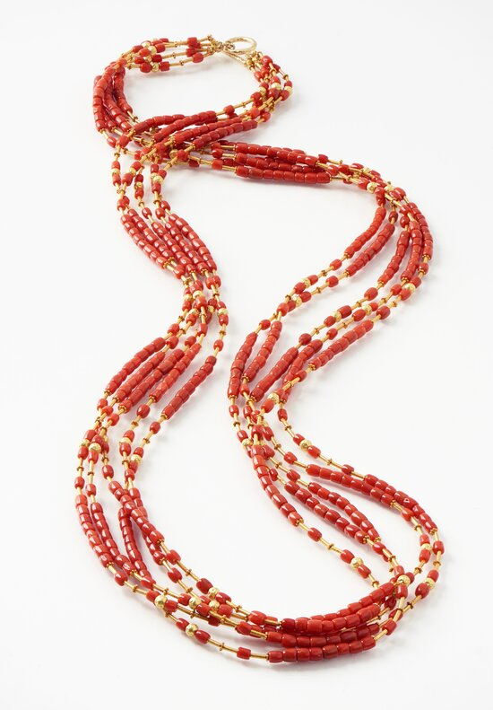 Greig Porter 18K, 5 Strand Italian Coral Necklace