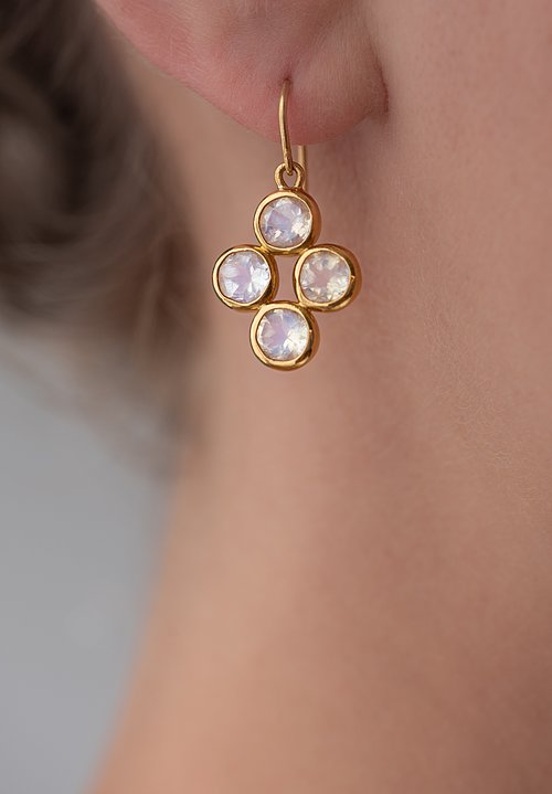 Greig Porter 22K, Moonstone Cluster Earrings