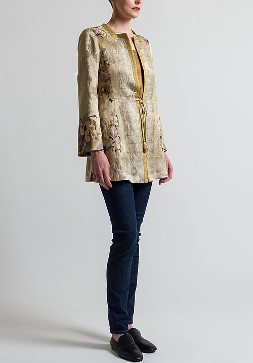 Etro Satin Floral Jacket in Gold