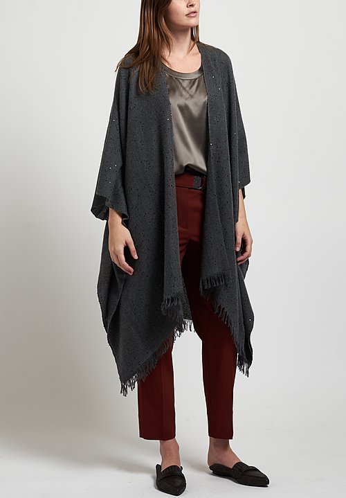 Brunello Cucinelli Paillette Poncho in Ash