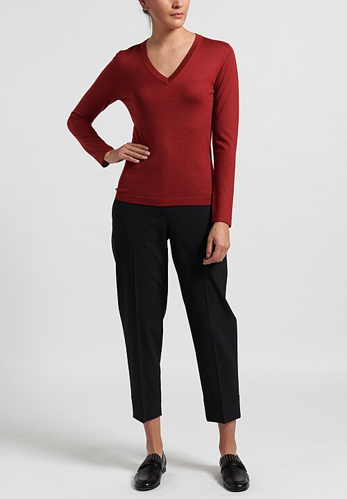 Brunello Cucinelli V-Neck Sweater in Red
