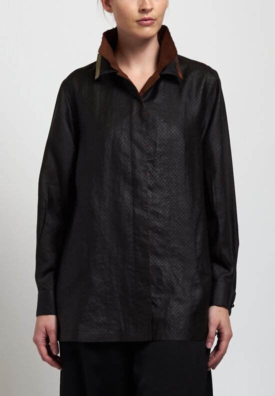Sophie Hong Relaxed Jacquard Shirt with Pearls in Black