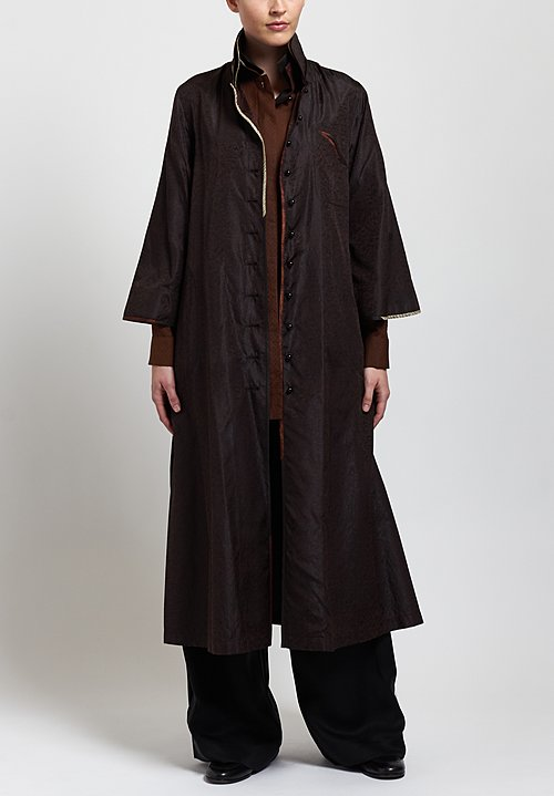 Sophie Hong Long Textured Coat in Coffee