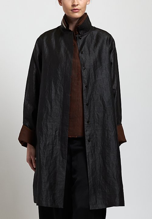 Sophie Hong Long Silk Jacket in Black