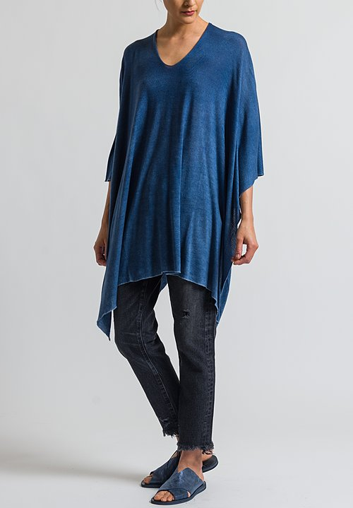 Avant Toi V-Neck Poncho in Denim