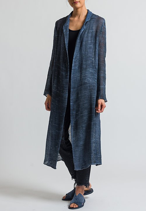 Avant Toi Long Mesh Jacket in Nero/Denim