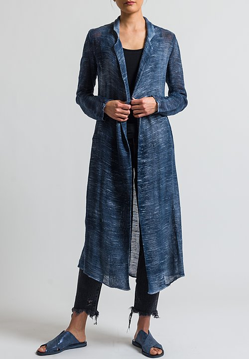 Avant Toi Long Mesh Jacket in Blu Navy