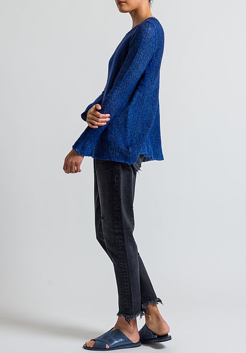 Avant Toi Relaxed Loose Knit Sweater in Nero/ China