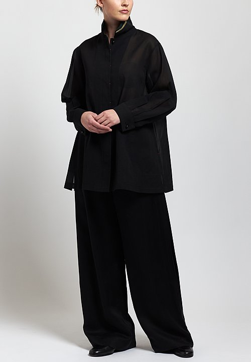 Sophie Hong Relaxed Sheer Shirt in Black/Green