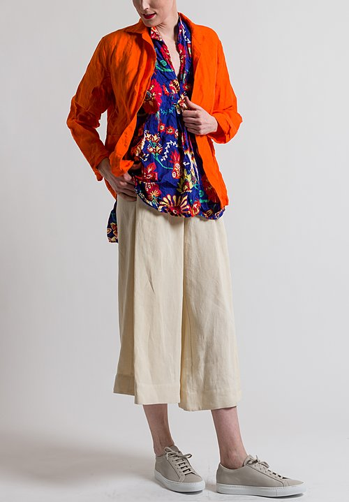 Daniela Gregis Washed Linen Open Jacket in Orange