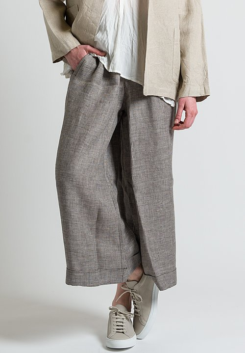 Daniela Gregis Houndstooth Wide Leg Pants in Brown/ Natural