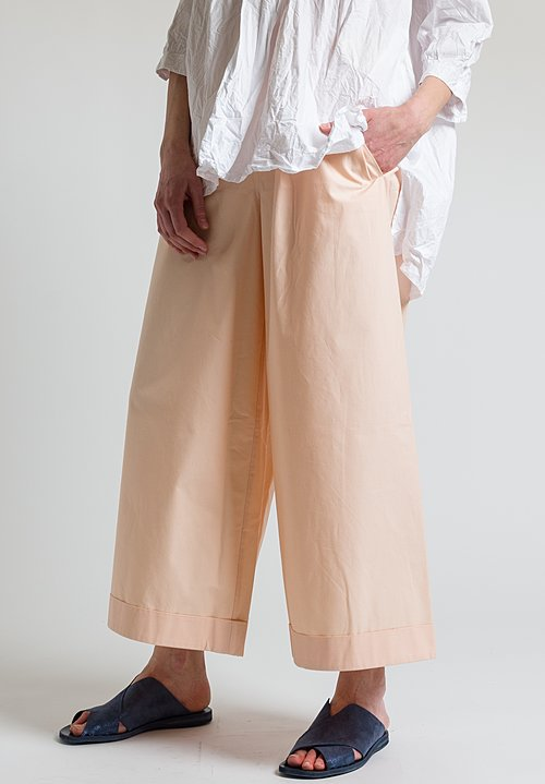 Daniela Gregis Cotton Wide Leg Pants in Peach