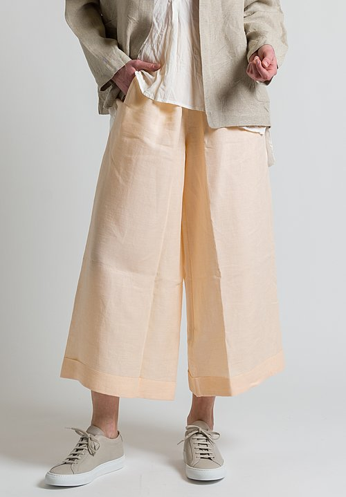 Daniela Gregis Linen Wide Leg Pants in Peach