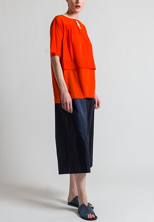 Daniela Gregis Silk Ebra Top in Red Orange