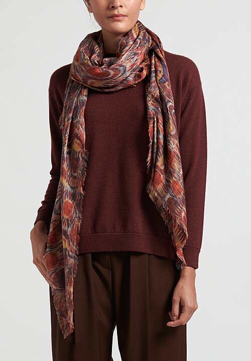 Alonpi Cashmere Printed Square Scarf in Praia Red