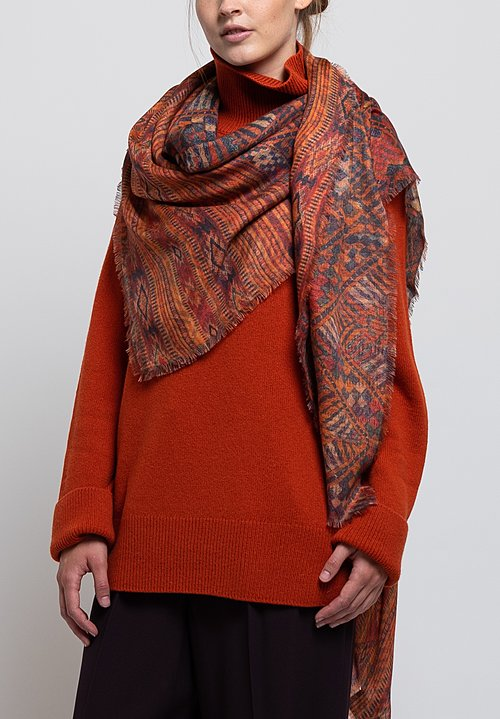 Alonpi Cashmere Printed Square Scarf in Kochi Orange