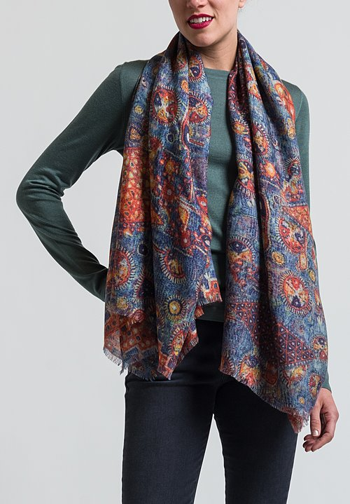 Alonpi Cashmere Printed Square Scarf in Honan Multi
