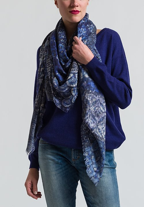 Alonpi Cashmere Printed Square Scarf in Mikado Blue