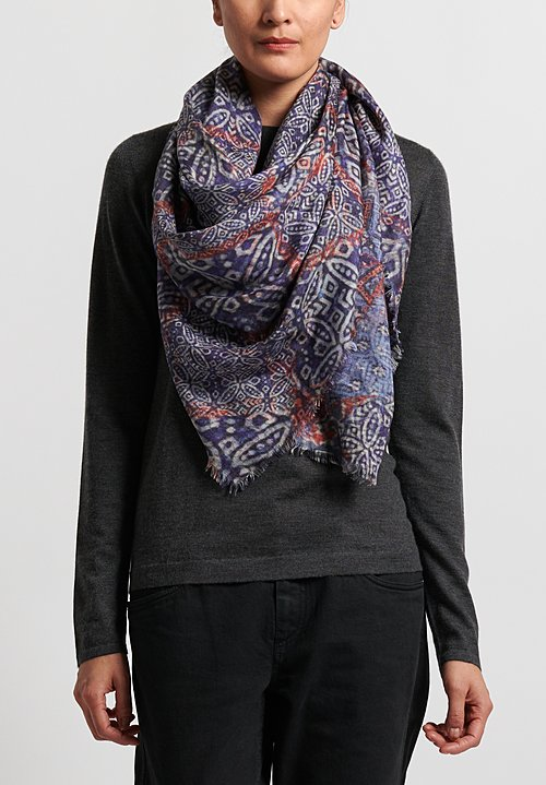 Alonpi Printed Square Scarf in Mix Blue