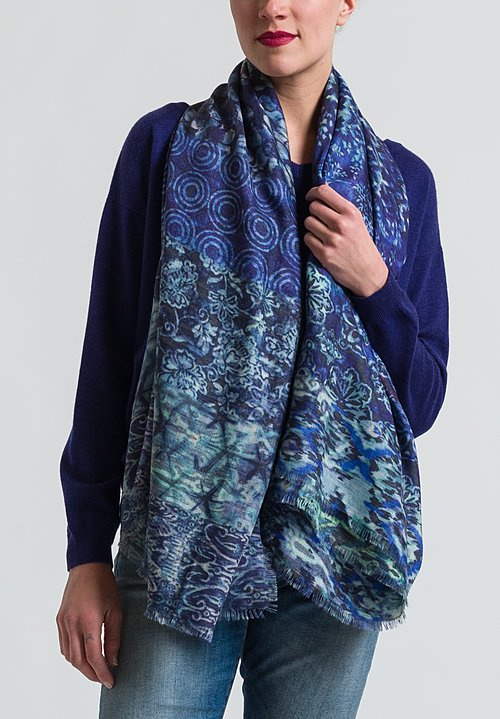 Alonpi Cashmere Printed Scarf in Turquoise Blue