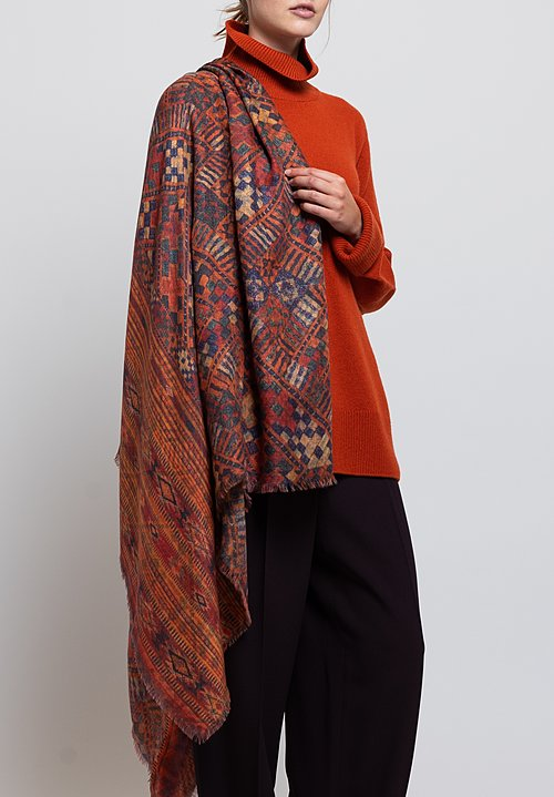 Alonpi Cashmere Printed Scarf in Kochi Orange