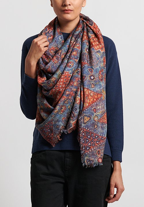 Alonpi Cashmere Printed Scarf Honan Multi in Honan Multi