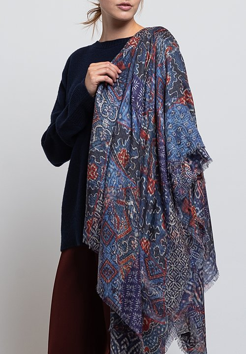 Alonpi Cashmere Printed Scarf in Mix Blue