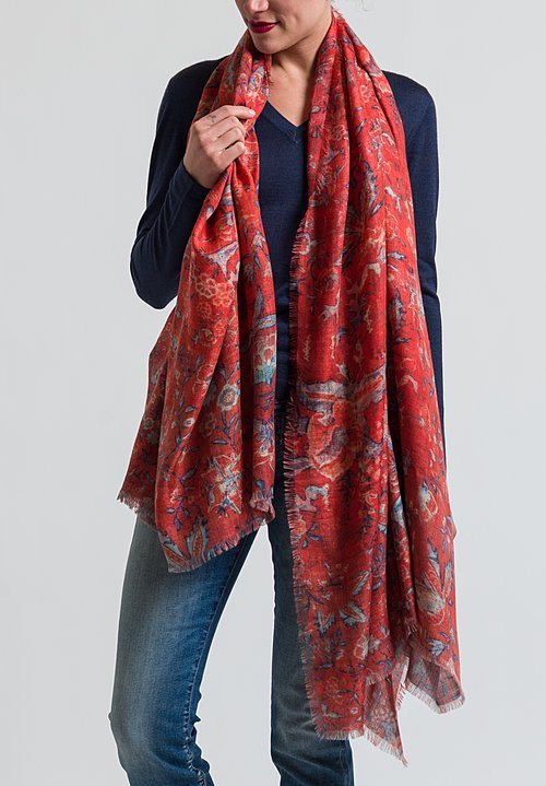 Alonpi Cashmere Printed Scarf in Baiadera Red