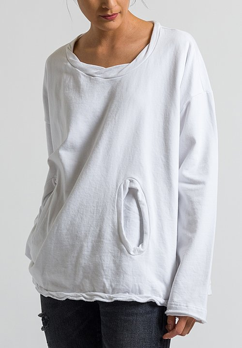 Rundholz Black Label Front Pocket Sweatshirt in White