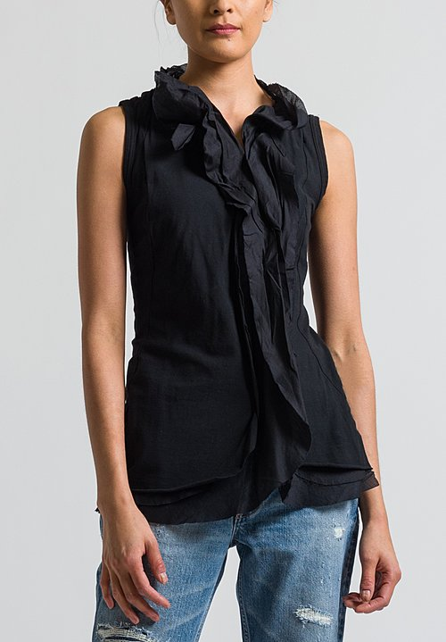 Rundholz Black Label Ruffle Front Tank Top in Black