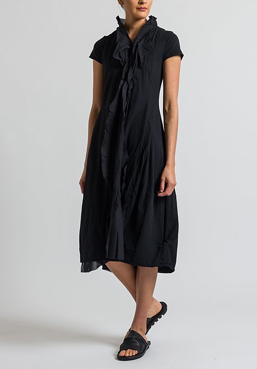 Rundholz Black Label Cotton Ruffle Front Dress in Black