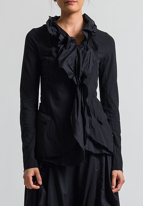 Rundholz Black Label Ruffle Front Jacket in Black