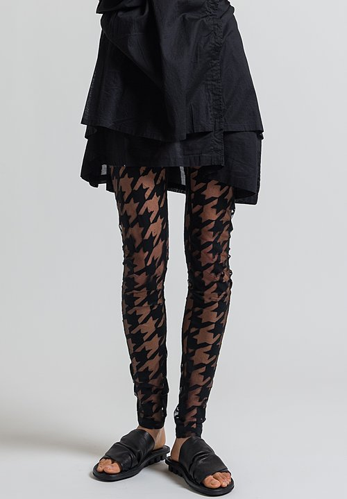 Rundholz Black Label Sheer Houndstooth Tights in Black