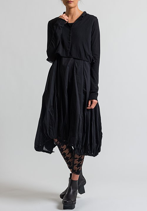 Rundholz Black Label Ruffled Cropped Cardigan in Black