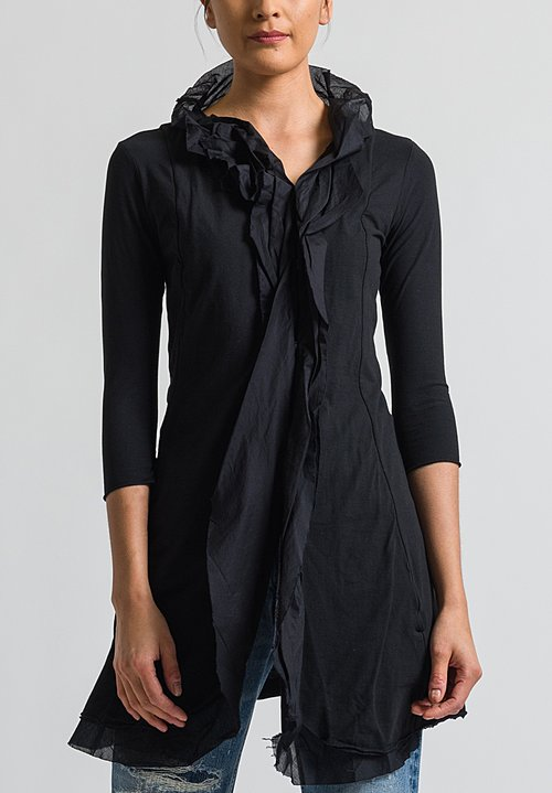 Rundholz Black Label Long Ruffle Front Jacket in Black