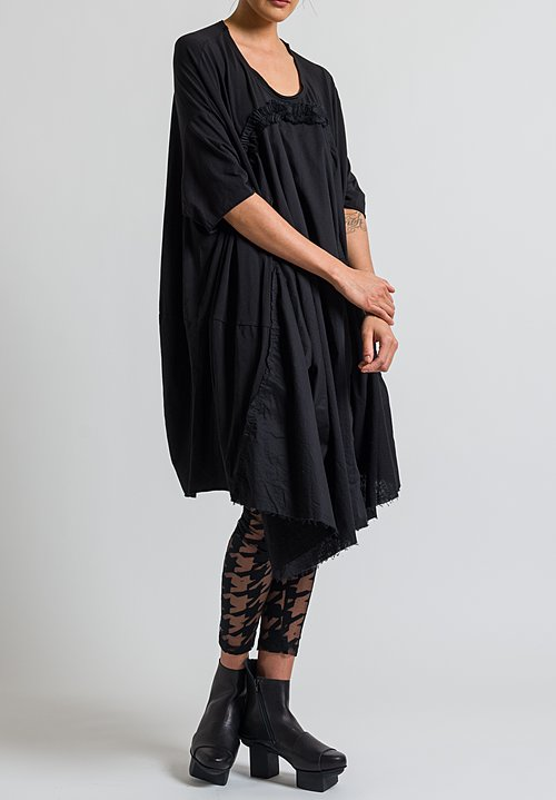 Rundholz Black Label Asymmetrical Ruffle Dress in Black